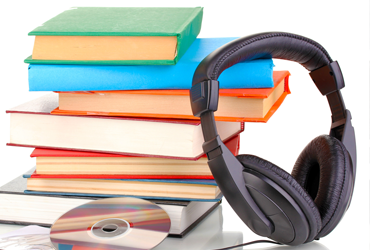 books CD and headphones