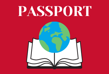 red rectangle with word passport and an image of a globe on top of an open book
