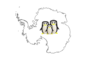 outline of antarctica with penguins in the middle