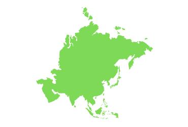 light green outline of Asia