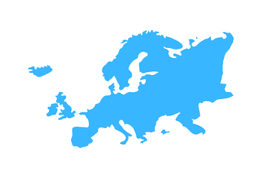 light blue outline of europe