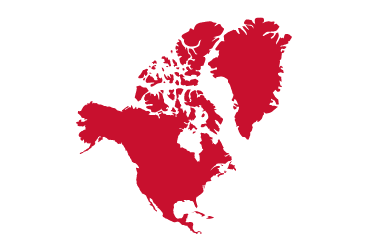 red outline of north america
