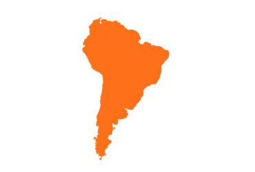 orange outline of south america