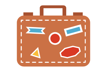 cartoon suitcase with travel stickers on it
