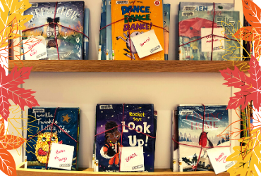 Photo of picture book bundles on display in the library.