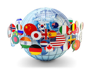 globe with flag printed speech bubbles surrounding it