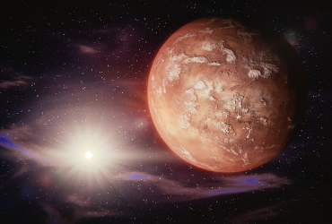 outer space scene - mars in the foreground on the right, sun in the background on the left