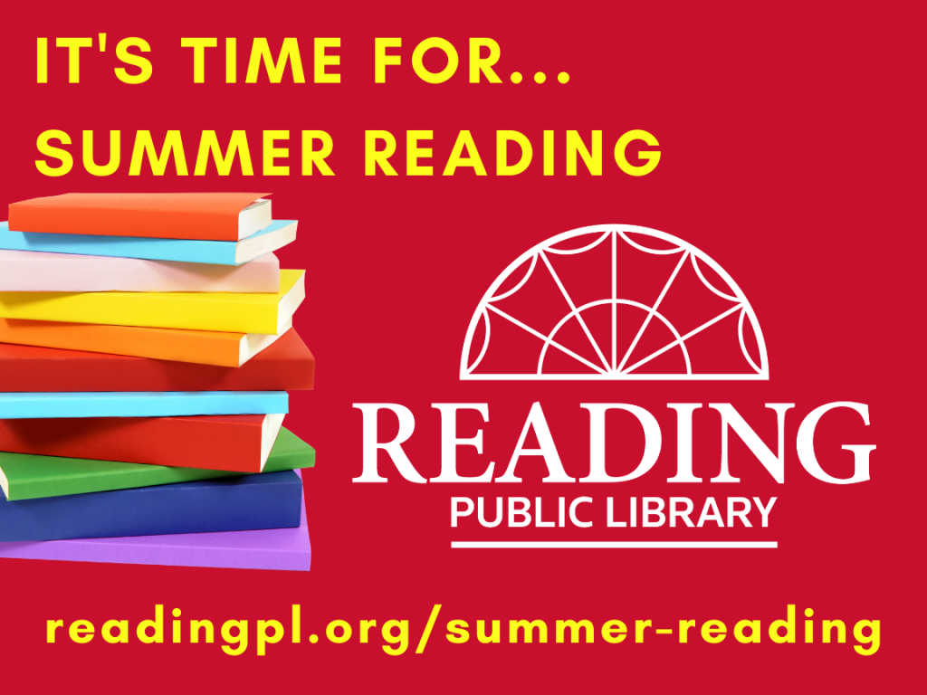 pile of books, RPL logo, text:It's time for...summer reading