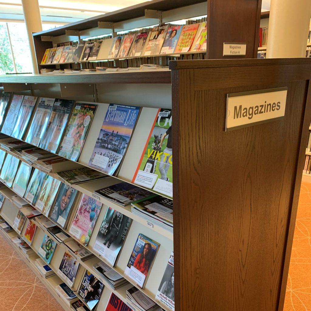 image of shelves of magazines