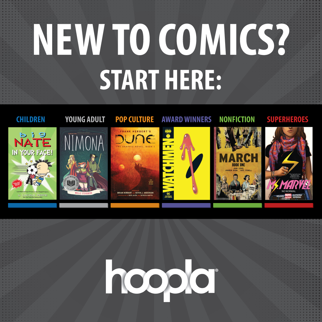 """text reading """"new to comics? start here:"""" with images of a variety of comics and graphic novels"""